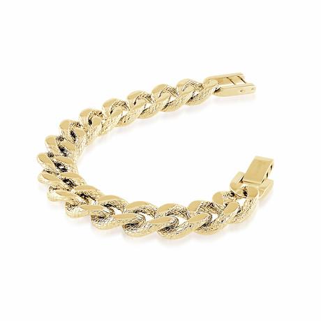 Stainless Steel Diamond Cut Edges Curb Link Bracelet // 15mm // Gold