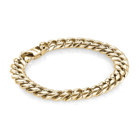 Stainless Steel Cuban Link Grooved Lines // Gold Plating