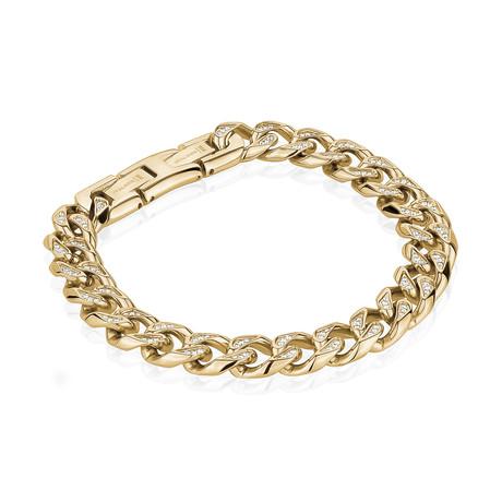 Stainless Steel Cuban Link Bracelet // Gold Plating