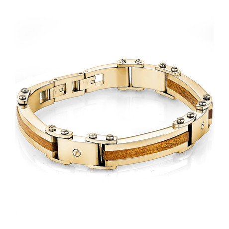 Stainless Steel 3-Piece Wood Inlay Polished Bracelet // Gold