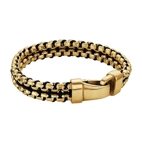 Stainless Steel Double Row Round Box Nylon Cord Bracelet // Gold Plating