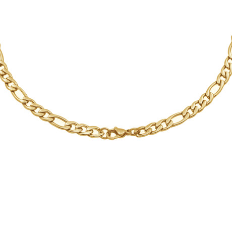 Stainless Steel Polished Figaro Chain // Gold Plating