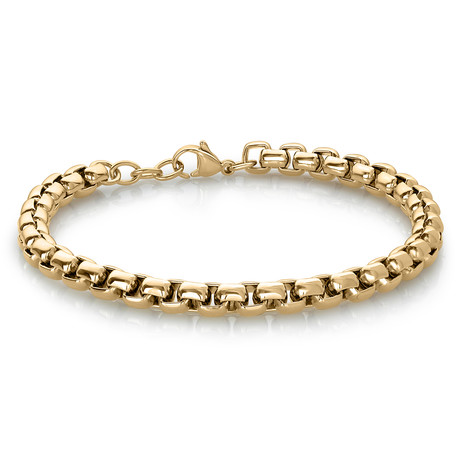 Stainless Steel Round Box Bracelet // Gold Plating