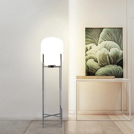 Frosted White Soaring Globe Floor Lamp // 1 Light