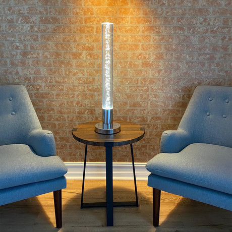Contemporary Acrylic Cylinder Table Lamp // Touch Switch + USB
