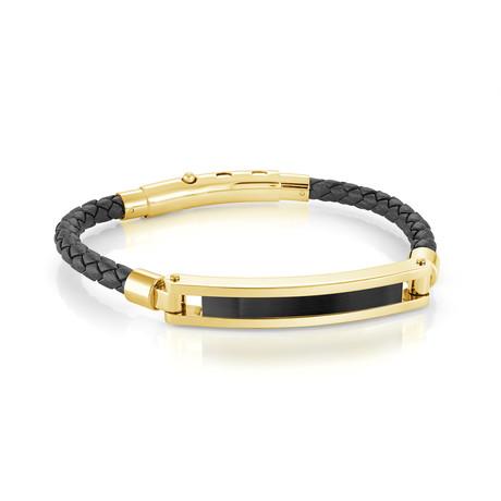 Stainless Steel Black Leather Bracelet // Gold Plating