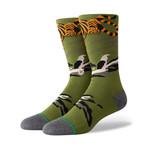 Big Cat Crew Socks // Green (L)