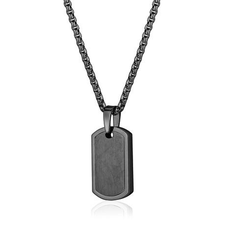 Dog Tag + Round Box Necklace I // Gunmetal
