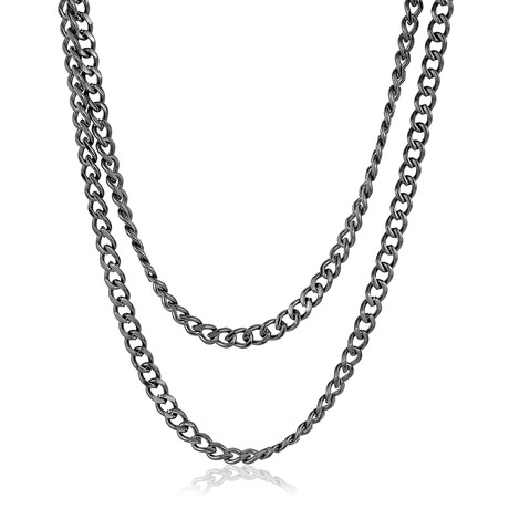 Curb Link Double Row Necklace // Gunmetal