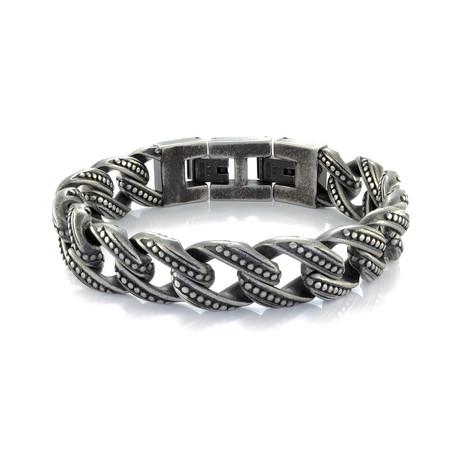 Vintage Curb Link Bracelet // Gunmetal