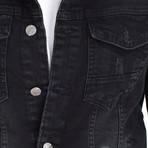 Distressed Trucker Jacket // Black (XL)