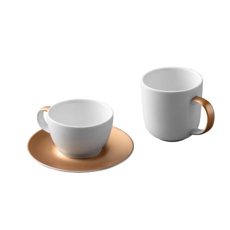 Gem Coffee + Tea Set // White + Gold