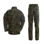 Jacket + Trousers Set // Dark Green + Camouflage (L)