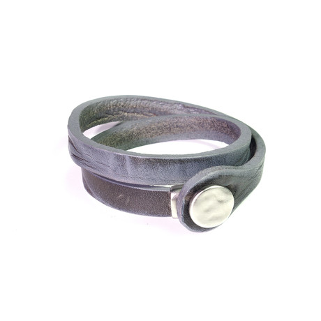 """Touch Collection // Wrap Cowhide Bracelet // Gray + Silver (8"""")"""