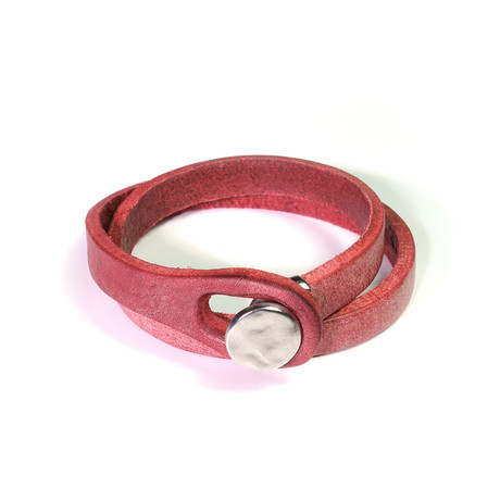 """Touch Collection // Wrap Cowhide Bracelet // Red + Silver (8"""")"""