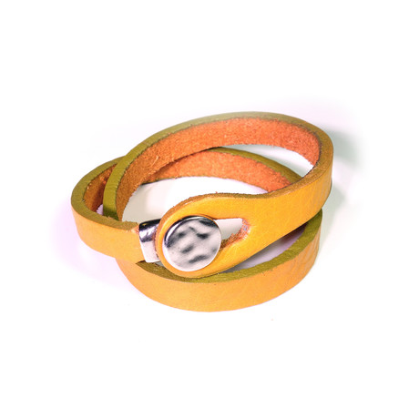 """Touch Collection // Wrap Cowhide Bracelet // Mustard + Silver (8"""")"""
