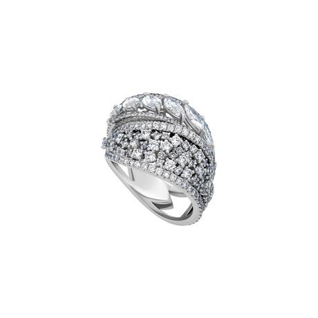 Stefan Hafner 18k White Gold Diamond Cocktail Ring // Ring Size: 8