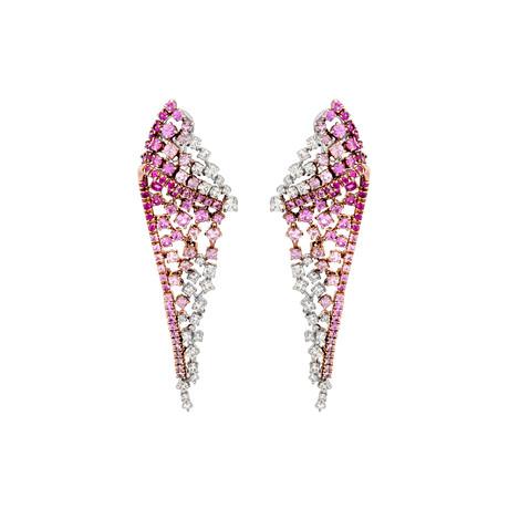 Stefan Hafner 18k White Gold Diamond + Pink Sapphire Earrings