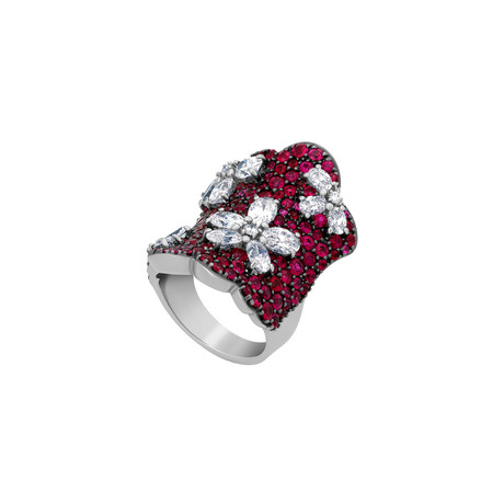 Stefan Hafner 18k White Gold Diamond + Ruby Ring // Ring Size: 6.5