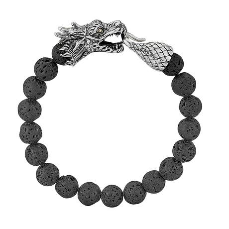Sterling Silver + Lava Beads Dragon Bracelet