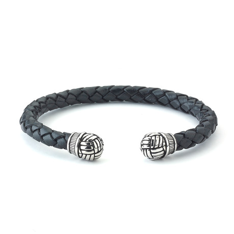 Sterling Silver + Leather Woven Bangle