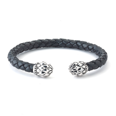 Sterling Silver + Leather Floral Bangle
