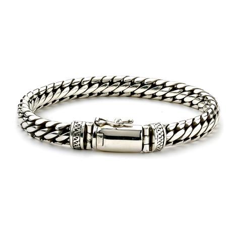 """Sterling Silver 10mm Woven Chain Bracelet (8"""")"""