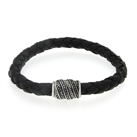 Sterling Silver Hammered Imperial Leather Bracelet