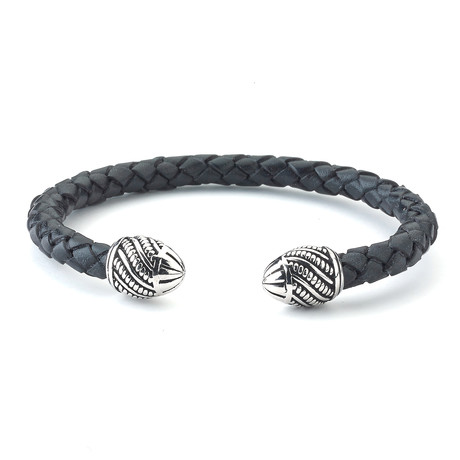 Sterling Silver + Leather Bangle