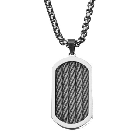 """Stainless Steel Three Cable Polished Pendant + 24"""" Chain"""