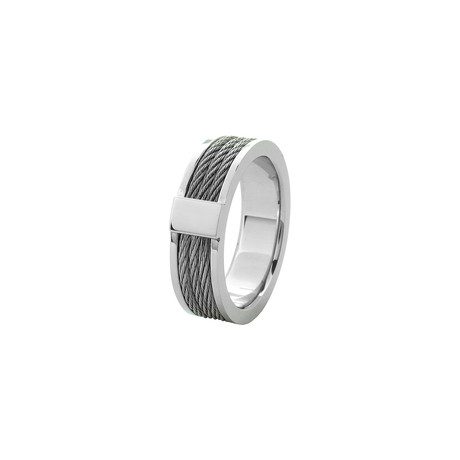 Three Cable Ring // Silver (Size: 9)