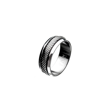 Polished Casted Inlayed Ring // Silver (Size: 9)