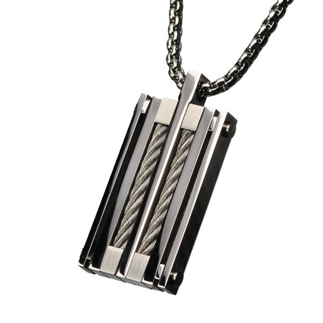 """Steel Chunky Cable Polished Pendant + 24"""" Chain"""