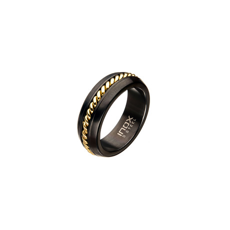 Polished Plated Inlayed Ring // Gold (Size: 9)