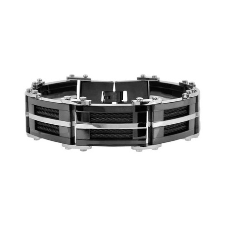 Multiple Black Inlayed Cable Bracelet