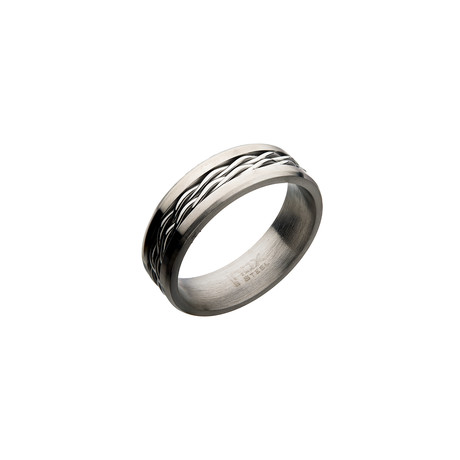 Steel Twist Cable Inlay Ring // Silver (Size: 9)