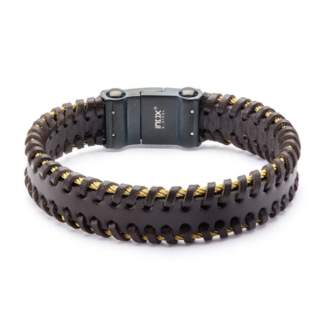 IP Cable Edge Bracelet // Brown + Gold