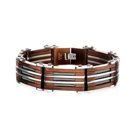 Three Cable Plated Bracelet // Capucchino
