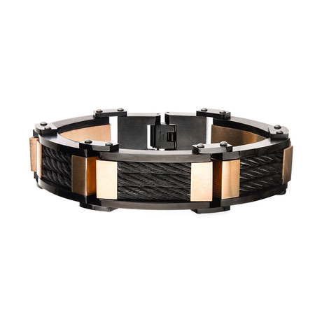 Plated 3-Layer XL Chunky Cable Link Bracelet // Black + Rose Gold