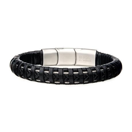 Leather + Steel Clasp Bracelet // Black + Silver