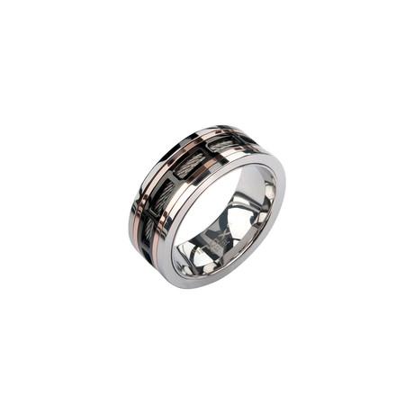 Steel Spinner Window Ring // Black + Rose Gold (Size: 9)
