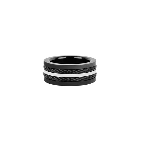 Stainless Steel Multi Cable Inlay Ring // Black (Size 9)