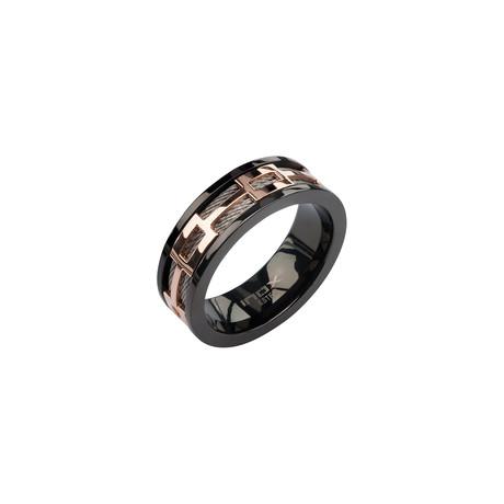 Rose Gold Spinner Window Ring // Black + Rose Gold (Size: 9)
