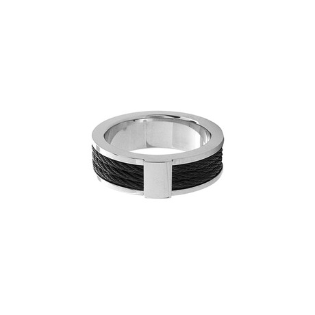 Stainless Steel PVD Cable Inlay Ring // Black (Size 9)