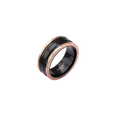 Cable Inlay Ring // Black + Rose Gold (Size: 10)