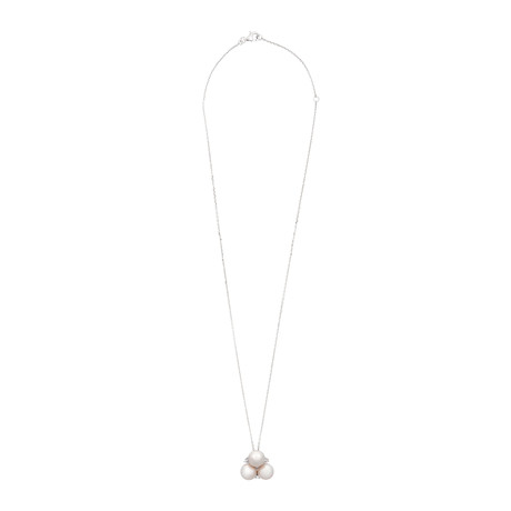 Assael 18k White Gold Diamond + Japanese Akoya Pearl Pendant Necklace II