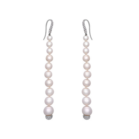 Assael 18k White Gold Diamond + Japanese Akoya Pearl Earrings I