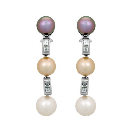 Assael 18k White Gold Diamond + Freshwater Pearl + Golden South Sea Pearl + Tahitian Pearl Earrings