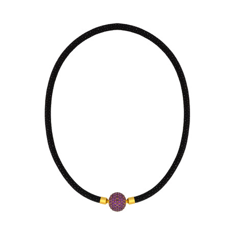Assael Gold Plated Stainless Steel + Black Leather Cord Amethyst Necklace