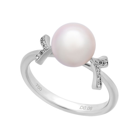 Assael 18k White Gold Diamond + Japanese Akoya Pearl Ring II // Ring Size: 6